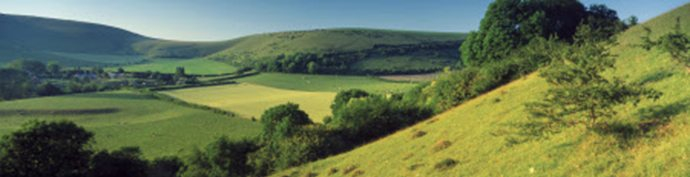 A view of the landscape at Fontmell Down near Shaftesbury, Dorset