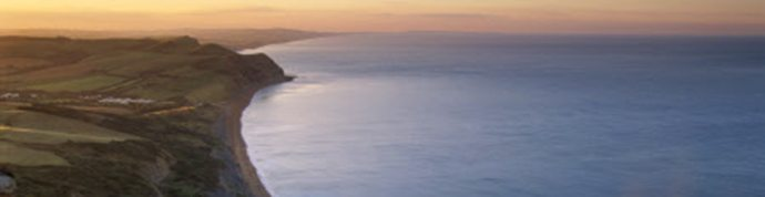 A view of the coastline from the summit of Golden Cap, at dawn.