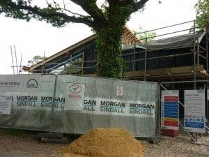 Side view of construction of visitor centre