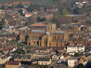 Sherborne Abbey from the air